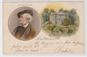 87187 Künstler AK Richard Wagner Portrait + Wohnhaus (Haus Wahnfried) 1901