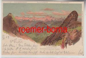 73940 Ak Lithographie Gruß vom Pilatus Tomlishornweg 1899