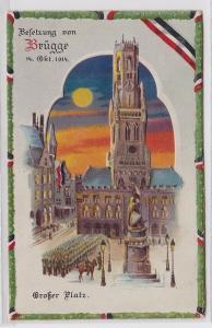 89303 Halt gegen das Licht Ak Besetzung von Brügge 1. Weltkrieg 1914