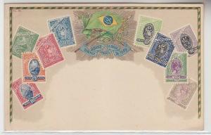 69332 Wappen Ak Brasilien Brazil mit Briefmarken um 1900