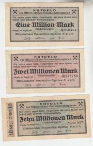 3 Banknoten Inflation Leipzig Mitteldeutsches Braunkohlensyndikat 1923 (111871)