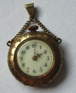 Schöne Jugendstil Damen Taschenuhr 585er Gold um 1910 (100840)