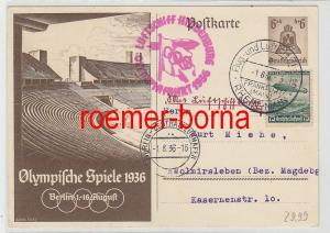 75040 Zeppelin Ganzsachenkarte Luftschiff Hindenburg Olympiafahrt Berlin 1936