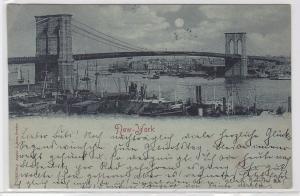 78393 Mondschein AK New York - Brooklyn Bridge mit Schiffen 1903