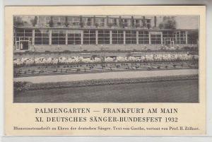 12768 Ak Frankfurt am Main XI. Deutsches Sänger-Bundesfest 1932 Palmengarten