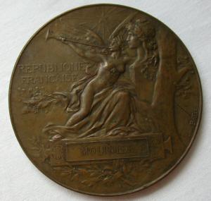 Seltene Bronze Medaille Weltausstellung Paris 1889 Lovis Bottée (112320)
