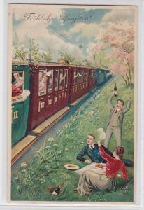 88251 Fröhliche Pfingsten Ak Picknick neben der Eisenbahn 1911