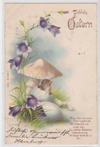 90287 Glückwunsch AK Fröhliche Ostern - Vogel schlüpft aus Ei 1903