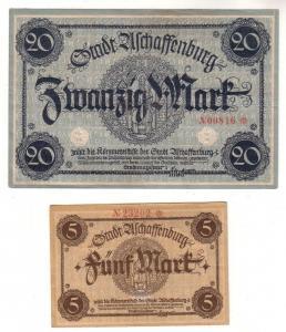 5 und 20 Mark Banknoten Stadt Aschaffenburg um 1918 (112697)