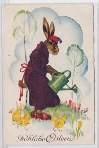 84218 Fröhliche Ostern Ak Hase mit Morgenmantel, Pantoffeln & Gießkanne 1928