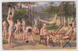 81111 Künstler AK Hoppen im Luftbade, halbbekleidete Männer beim Sport treiben