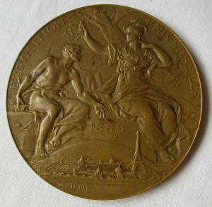Seltene Bronze Medaille Weltausstellung Paris 1889 Lovis Bottée (119020)
