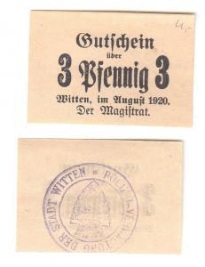 3 Pfennig Banknoten Notgeld Stadt Witten 1920 (112777)
