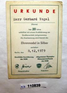 DDR Urkunde ADMV Ehrennadel in Silber für 20 Jahre unfallfreies Fahren (110839)
