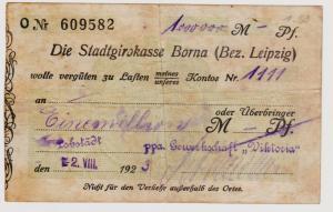 Firmenscheck 1 Million Mark Banknote Stadtgirokasse Borna 2.8.1923 (120893)