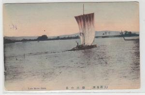 70475 Ak Yodo River Oaka Japan mit Segelboot um 1915