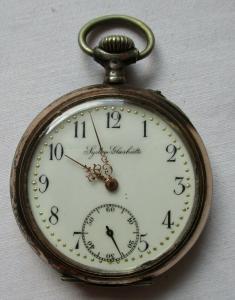 Elegante 800er Silber Taschenuhr System Glashütte Handaufzug um 1900 (106990)