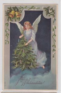 88904 Fröhliche Weihnachten Ak schwebender Engel mit Tannenbaum 1912
