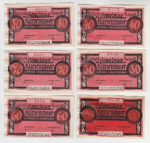 6 Banknoten Notgeld Gemeinde Kurzenmoor 1921 (110031)