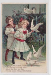 82581 Präge Ak Kinder füttern Tauben 1910
