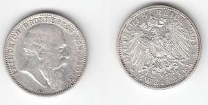 2 Mark Silber Münze Baden Großherzog Friedrich 1903 G (112525)