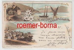 73819 Ak Lithographie Souvenir du Lac Lémon Schweiz 1897