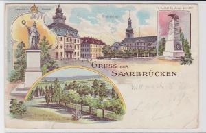 86856 Lithografie AK Gruss aus Saarbrücken - Schlossplatz, Ehrenthal 1899
