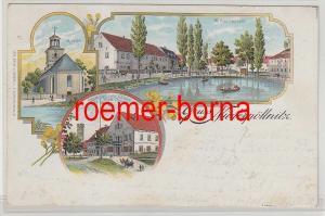 80492 Ak Lithographie Gruss aus Niederpöllnitz Gasthaus zum Löwen usw. 1902