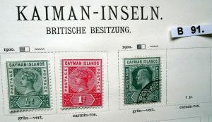 Kleine Briefmarkensammlung Kaiman Inseln Cayman Islands ab 1900