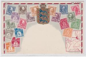 85855 Briefmarken AK Briefmarken von Dänemark um 1910