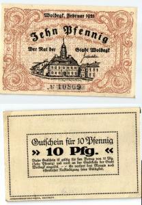 10 Pfennig Banknote Stadt Woldegk Februar 1921 (123842)