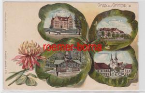 88210 Kleeblatt Präge Ak Lithographie Gruß aus Grimma um 1900