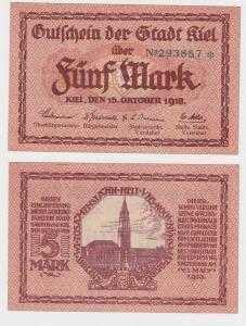 5 Mark Gutschein Banknote Stadt Kiel 15.Oktober 1918 (121774)