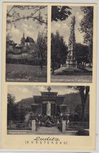 52353 AK Luditz Žlutice (Sudetengau) - Kriegerdenkmal, Kirche, Dreifaltigkeit