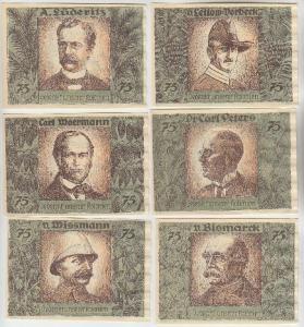 6 Banknoten Dt-Hanseatischer Kolonialgedenktag Kolonialpioniere 1921 (110249)