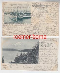 78119/2 Ak Greetings from Seattle Hafen, Mount Rainier 1900