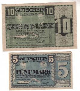 5 und 10 Mark Banknoten  Stadt Mühlhausen in Thüringen 1918 (112900)