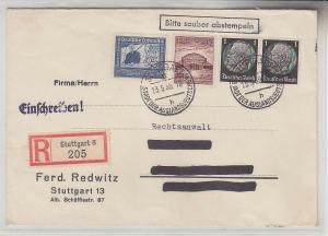 67907 Einschreibebrief von Stuttgart nach Borna 1938