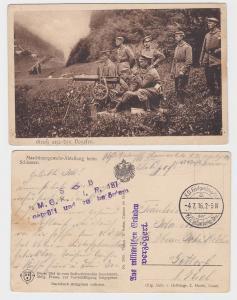 86022 Feldpost Ak Gruß aus den Vogesen Maschinengewehrabteilung 1916