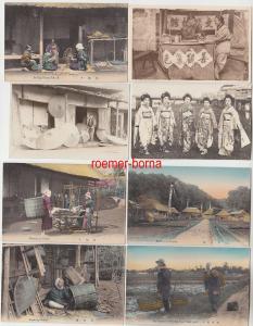 78558 / 8 Ak China, Japan Dorfleben, Schirmherstellung usw. um 1930