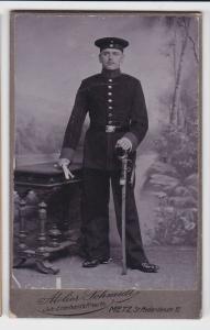 61730 Kabinett Foto Soldat mit Säbel und Portepee Metz