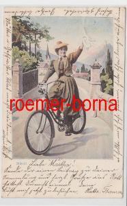 86365 Künstler Ak Allheil! Frau winkend auf einem Fahrrad 1900