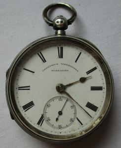 Elegante Greenwich Timekeeper Taschenuhr Silber Schlüsselaufzug Chester (109678)