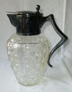 Antike bauchige Glaskaraffe aus Kristallglas m. silbernem Deckel um 1920 /124962