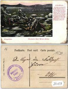34129 Feldpost Ak Deutsch Süd West Afrika Kriegsbilder um 1907