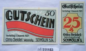 2 Banknoten Notgeld Schmölln Weinhandlung Otto Seidel 1921 (111153)