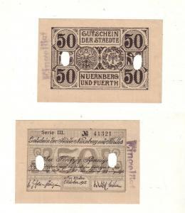 50 Pfennige Banknote Notgeld Städte Nürnberg und Fürth 1918 (112672)