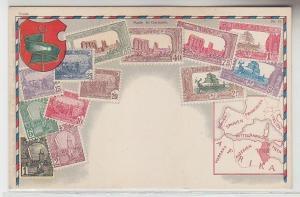 42697 Wappen Ak Tunesien Tunisie mit Briefmarken um 1900