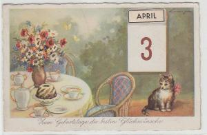 67911 Glückwunsch Ak Katze sitzt neben Kaffeetisch 1942