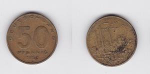 50 Pfennig Messing Münze DDR 1950 Pflug vor Industrielandschaft (120066)